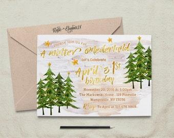Winter Onederland Birthday Invitation- Winter Wonderland Birthday Invite-Snow Invite