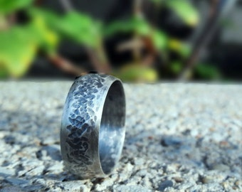 925 Sterling Silver Rings Hammered Textured Ring Wedding Ring Wide Band Ring Men Silver Rings Man Ring Oxidized Rings Dark Silver Ring