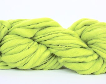 Hand Spun Yarn ,Thick and Thin Yarn,  Super Chunky Yarn,  Fine Merino Wool Yarn, Bulky Yarn, TTY ,Citron Color Yarn
