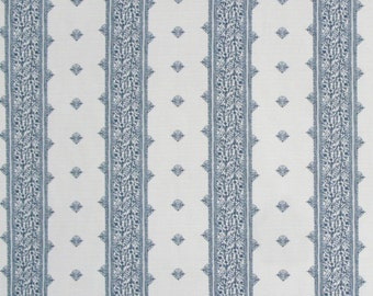 Peter Dunham Fez Blue on White Cover - Blue Stripe Linen - Designer Blue Pillow Cover - Motif Pillows - Global homedecor