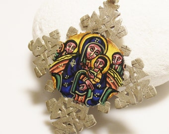 Large Ethiopian Icon Cross Pendant Double Sided, Unique Ethnic Pendant, Coptic Cross (AC121)