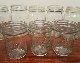 Lot 11 Vintage Kerr Self Sealing Mason Canning Fruit Jars Pint & Half Pint