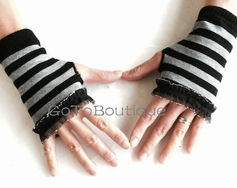 Striped Arm Warmers-Grey Gloves- Fingerless Gloves-Lace Gloves.