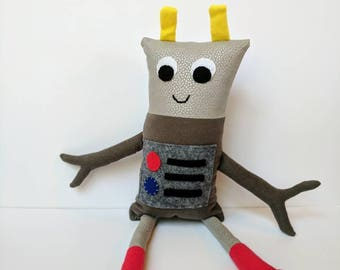 Happy Gray Polka Dot Robot Plushie with Primary Color Buttons, Antenna, and Heart