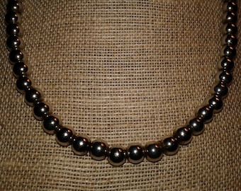 """Vintage Sterling Silver Bead Necklace 18"""" 925 Italy"""