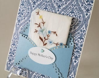 Mother's Day Vintage Hankie Card Embroidered Handkerchief Blue Blossoms Mom Keepsake Gift Happy Tears Hanky