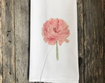 Watercolor Peony Tea Towel