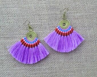 Amethyst Tassel Fan Hoop Earrings Colorful Tassle Earings BOHO  Earrings Gypsy Tassle Jewelry Trending Now Wholesale Jewelry Gift for Women