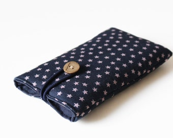 Case for iPhone, blue handmade cover, bag, sleeve, stars, dark blue fabric cotton, padded 6, 4, 5, 5S, 5C