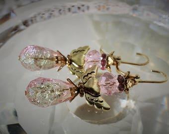 Sunshine and Pink Angel Earrings
