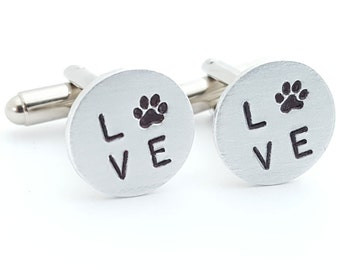 Love Paw Print Cufflinks for Him Cuff Links for Dog Lover Christmas Birthday Gift