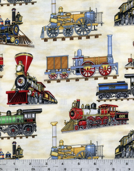 Trains on beige fabric by the half yard for Train fabric by the yard