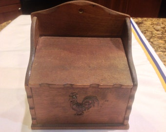 Primitive Wooden Recipe Box with Rooster on Front