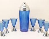 1920s or 30s, art deco, cobalt blue, fluted glass, cocktail shaker set.