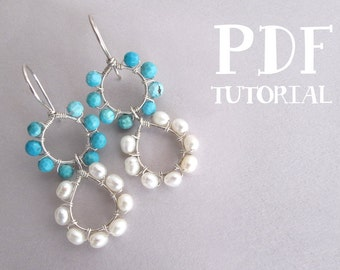 Wire Wrapping Tutorial: Two - Tiered 'Halo' Drop Earrings, PDF Tutorial / Jewelry Pattern