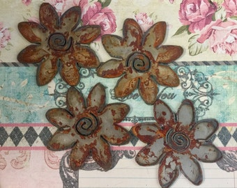 The Fower Child Rusted Large Metal Daisies  4 Count Rusty Objects Flowers Feminine Symbols Daisy Cut Outs Stencils Rusty Findings