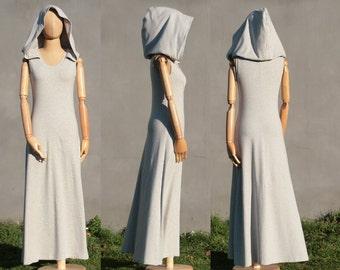 Hooded dress, maxi dress, grey, Victorian XXL hood, organic cotton jersey, organic woman clothing, long dress, Fairy dress, Solmode, OOAK