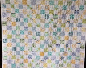 Spring Summer Baby Toddler Postage Stamp Quilt Blanket Boy Girl Gender Neutral Modern Patchwork Yellow Blue Green White