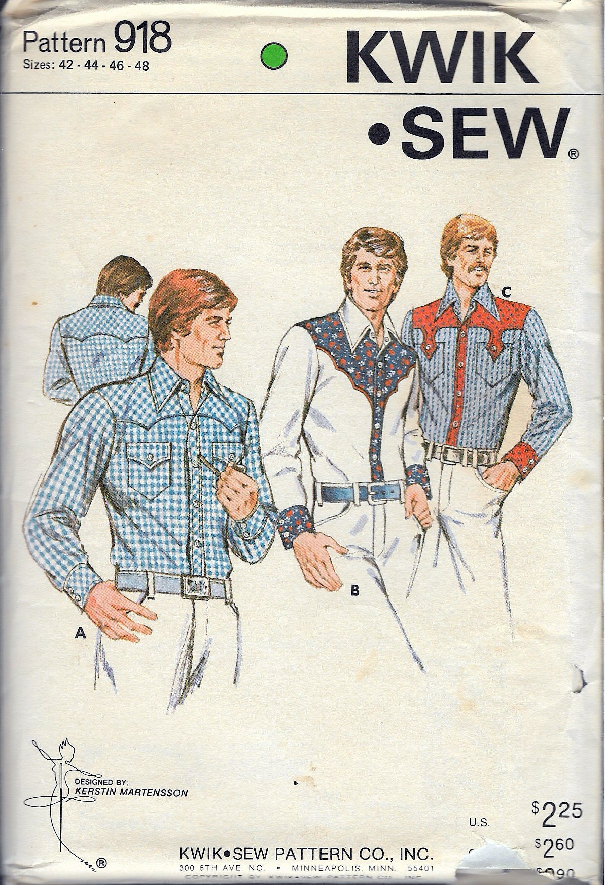 Vintage 1978 kwik sew 918 mens western shirt sewing pattern size sold by recycledelic1 jeuxipadfo Images