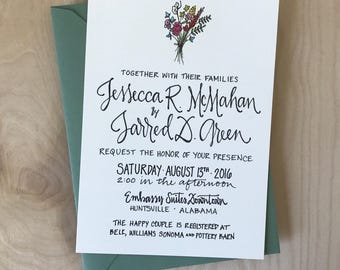 Floral Bouquet Wedding Invitation / Wildflower Calligraphy Wedding Invitation / Rustic Wedding Invitation / Classic Wedding Invitation Set