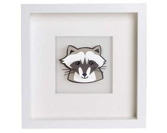 Woodland Animals - Framed Raccoon 3D paper cut art. Nursery Decor - Nursery Art - Woodland - Forrest - Shadow Box.