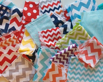 Quilting Scrap Fabric Pack -  Quilter's Cotton - Chevron, Gingham, Polka Dots, Various Colors