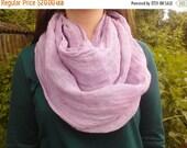 SALE Infinity linen scarf Light purple Unisex Gift ideas Summer linen scarf Natural organic linen scarf Fashion