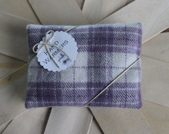 Hand Warmers - Set of 2 Rectangles Lavender/Creme Plaid