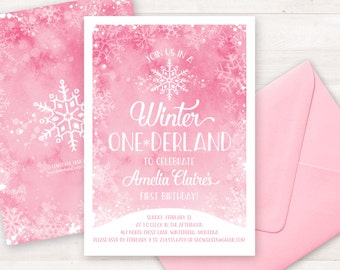 Pink Winter Onederland Invitation, First Birthday Invitations, Printable Invitation, Girl Invitation, Watercolor Pink Snowflake Invitation