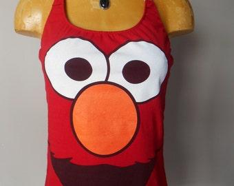 Elmo halter top Reconstructed DIY Sesame Street