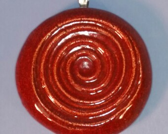 SPIRAL - Pendant / Necklace - Ceramic - BURNT ORANGE Art Glaze - Inspirational Art Piece