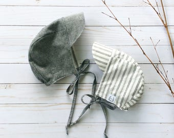 Reversible Half-brim Bonnet - chambray