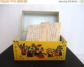 SALE Vintage Metal Recipe Box 1960s Rustic Yellow Syndicate Farmhouse Retro Kitchen