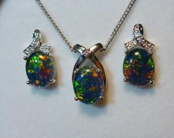 Opal Pendant & Earring Matching Set, Sterling Silver #110425.