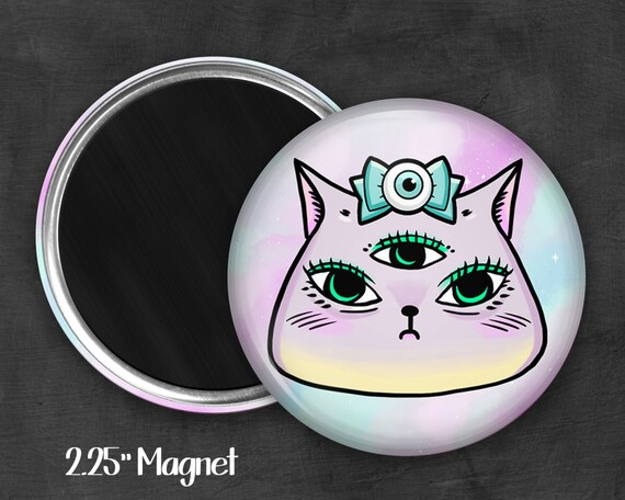 "2.25"" Kawaii Kitty Magnet, Geek Magnet, Geekery, Magnet Button,  Kawaii Magnet, Refridgerator Magnet, Kawaii, Fairy Kei, Pastel Goth"