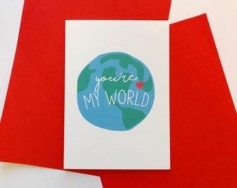 Cute 'You're My World' Card // Valentines // Birthday // Anniversary // Love // Wedding // Romantic // Wife // Husband // Girlfriend //