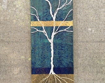 Rooted In Gold Tree Textured original painting by artist Rafi Perez Mixed Medium on Canvas 8X24