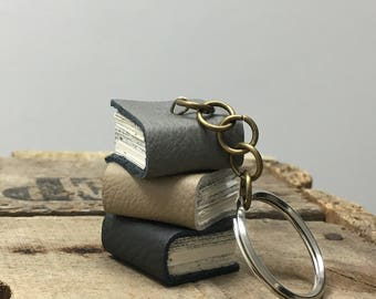 Book Keyring Keychain Handmade Mini Grey And Beige Leather Book Stack