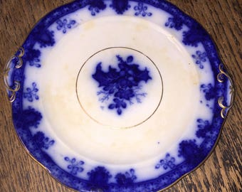 Victorian Flow Blue Plate w Holly Leaves and Berries 9 Inch