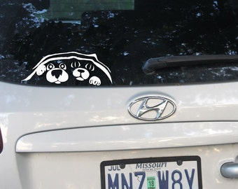 Dog and Cat Peeking Car Decal, Animal Lover Gift, Dog Rescue, Love My Dog, Dog Sticker, Bumper Sticker