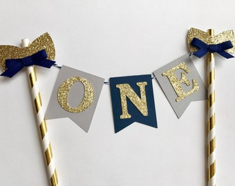 One Cake Topper, ONE cake topper boy, Bow Tie Cake Topper, One Smash Cake topper, Navy & Gold one cake topper, first birthday cake topper