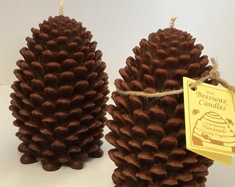 Pinecone beeswax candle,large beeswax candle,Deep green color 5-1/4 inches tall x 3