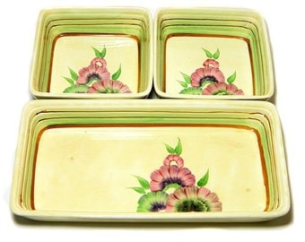 Wilkinson Ltd Three Piece Condiment Tray Set Hand Painted Clarice Cliff Interest Art Deco