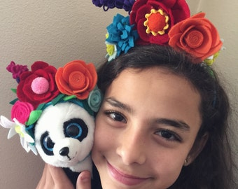 Dolly and me set: Authentic Frida Kahlo / Catrina/Mexico flower headband. Day of the dead hair piece.