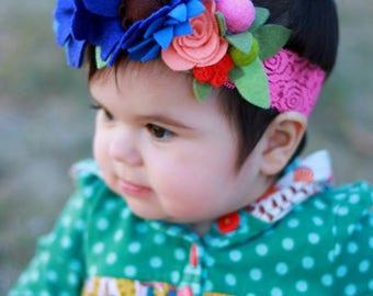 Blue blossoms sweet spring headband