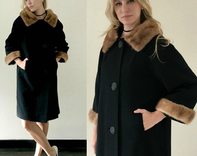 Vintage 60s Black Swing Coat w/ Mink