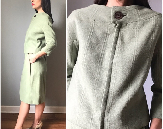 Vintage 60s Spearmint Wool Skirt Suit Jackie O