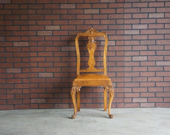 Chair / Antique Splat Back Chair / French Chair / Petite Antique Carved Chair / Accent Chair / French Side Chairs / Vanity Chair