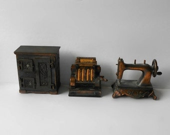 ON SALE Vintage Dollhouse Miniature Ice Box Cash Register Sewing Machine ON Choice Items 21, 5401, 5403