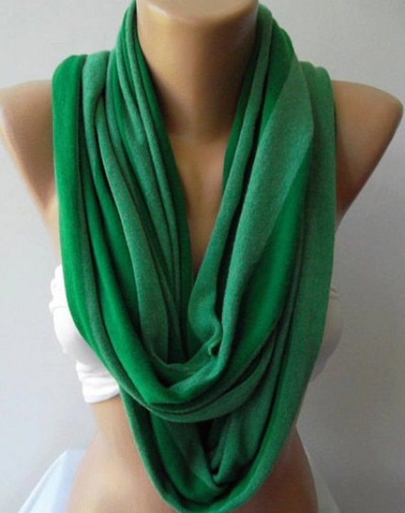 Scarf Christmas Gift Holiday Gift Forest Green Loop Scarf Stripe Scarf Fashion accessories Winter Fashion Gift for Her